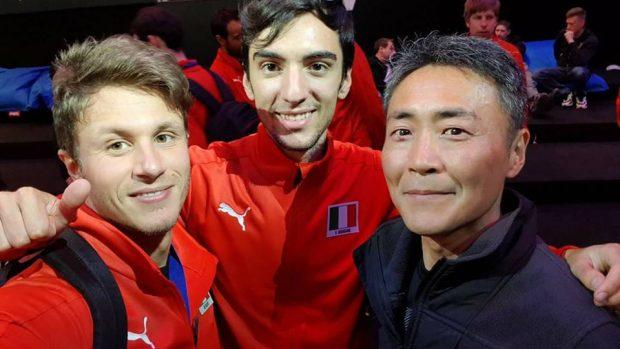 Mangano e Paolini con Kazunori Yamauchi, ex pilota professionista e creatore della serie Gran Turismo.