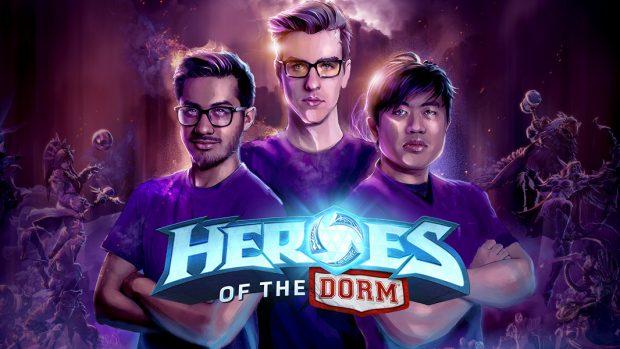 """Il logo di """"Heroes of The Dorm"""", il campionato universitario nordamericano di Heroes of The Storm. Dal 2015 offre un montepremi di quasi mezzo milione di dollari in borse di studio, attraendo studenti da centinaia di atenei sparsi in tutto il continente."""