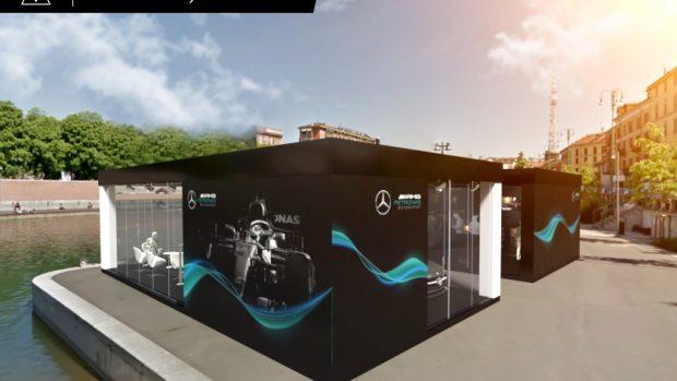 La struttura Mercedes-Benz in Darsena a Milano dell'F1 Milan Festival in cui si svolgeranno le qualifiche dal vivo.