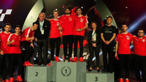 Il podio della European Final: Giorgio Mangano, terzo, l'inglese Adam Suswillo, secondo, e Mikail Hizal, primo campione europeo del GT World Tour.