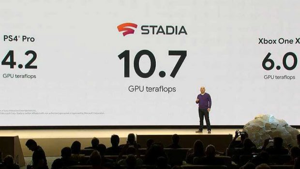 La potenza di calcolo dei server di Stadia in confronto a quelle di PlayStation 4 Pro e Xbox One X.