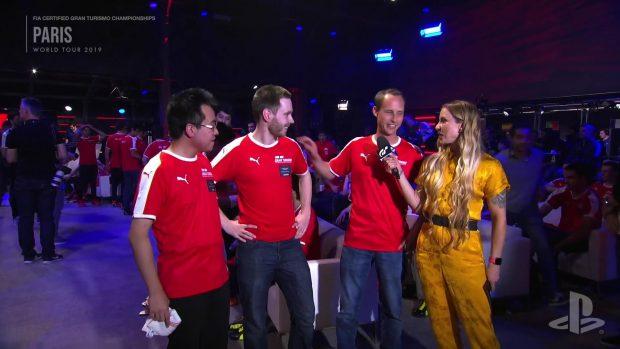 Il team Aston Martin al completo con Thomas Compton-Mcpherson, Christopher Marcell e Yoshiharu Imai visibilmente soddisfatti.