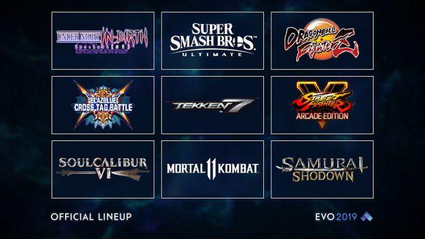 I nove giochi protagonisti dell'Evolution Championship Series 2019 dal 2 al 4 agosto.