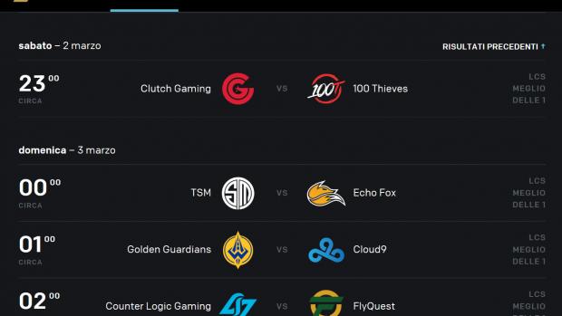 I prossimi match della divisione nordamericana della League of Legends Championship Series.