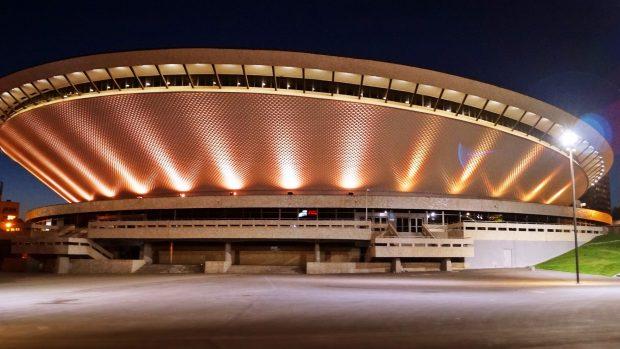 Un'immagine dell'avveniristica Spodek Arena di Katowice.
