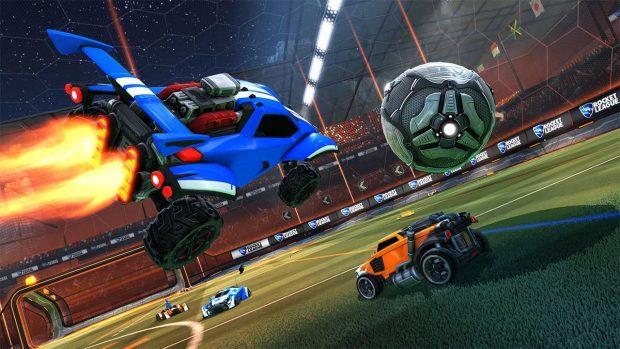 In Rocket League, due squadre di auto da corsa si affrontano in una mirabolante partita di calcio, un po' come accadde nel corso di qualche puntata dello show Top Gear.